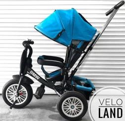 Велосипед 3-х колесный BMW Черная рама Голубой текстиль