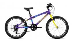 20 Велосипед FORWARD RISE 2.0″ , 7 ск. рост 10.5 (фиолетовый/желтый)